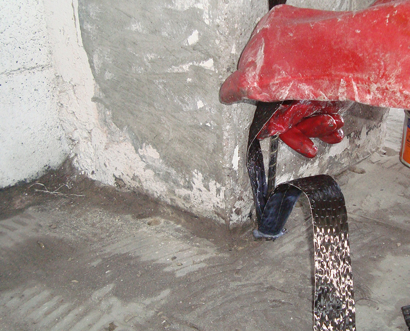 Intervento di miglioramento sismico con fibre di carbonio